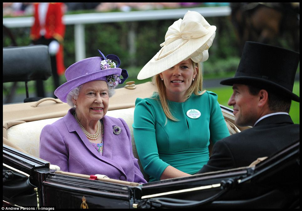 The Queen, wearing a lavender ensemble, rode in the Royal Procession with her grandson Peter Phillips and his wife Autumn. who chose to wear a fitted green dress and wide-brimmed hat