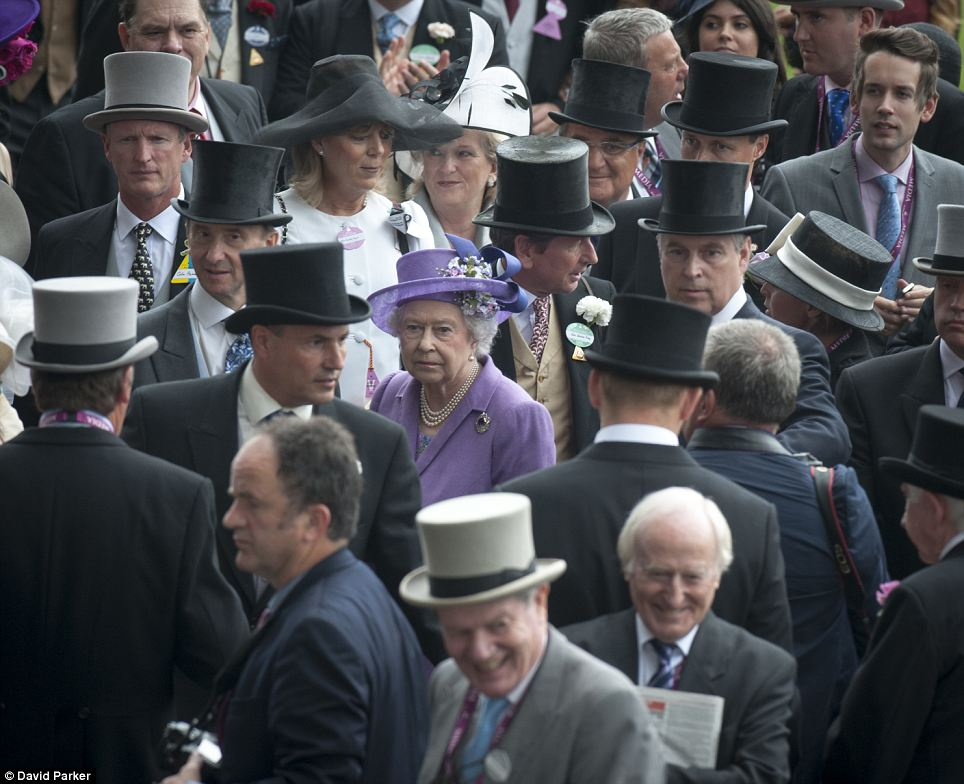 The Queen in the winners enclosure afterwards