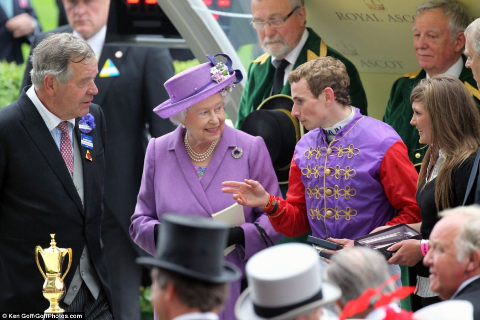 From left to right, Sir Michael Stoute, the trainer, The Queen and the jockey Ryan Moore