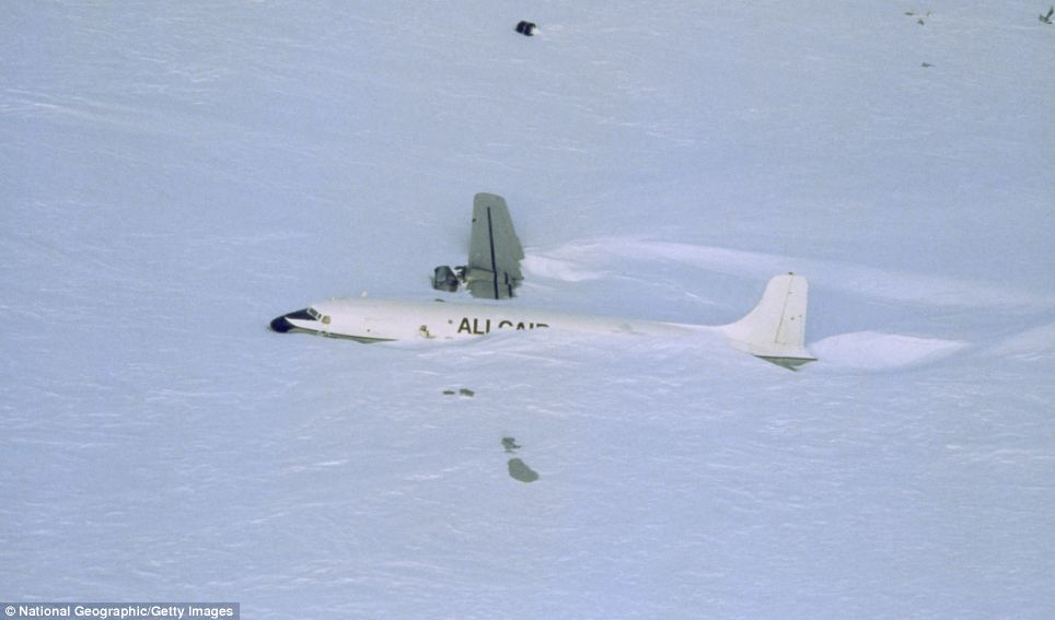An aircraft that crashed in a whiteout near an ice runway, Patriot Hills, Antarctica