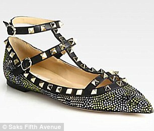 Valentino Camouflage Crystal-Coated Leather Ballet Flats $1,750
