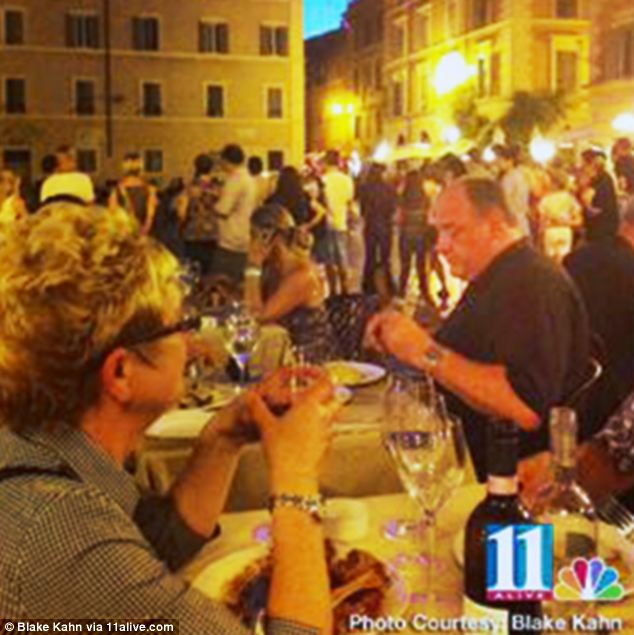 'Final pictures': A holidaymaker took this photograph of James Gandolfini enjoying dinner in Rome on Tuesday night - around 24 hours before he passed away suddenly following a suspected heart attack