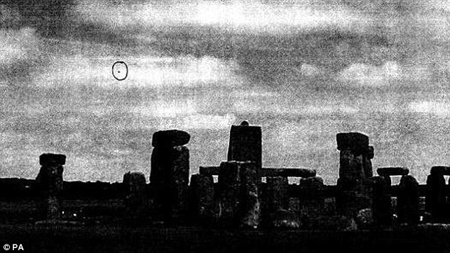 Above, a UFO over Stonehenge in Wiltshire in January 2009