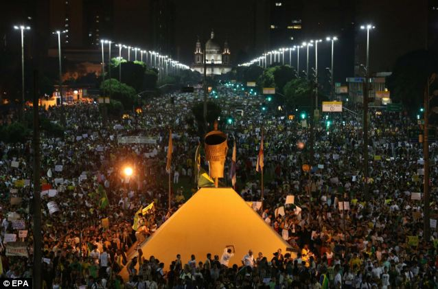 Mass protest: Demonstrators gather during a protest to demand better public services, in Rio de Janeiro