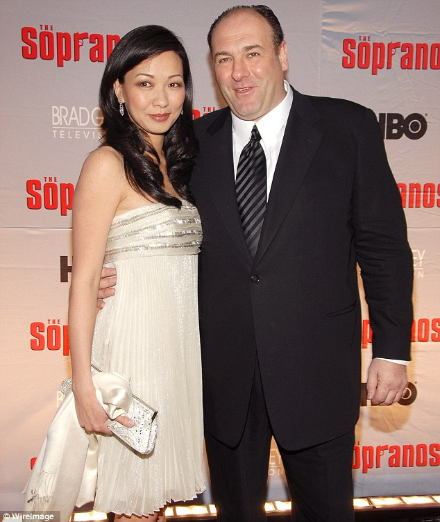 Tragic: James Godolfini with his second wife Deborah Lin