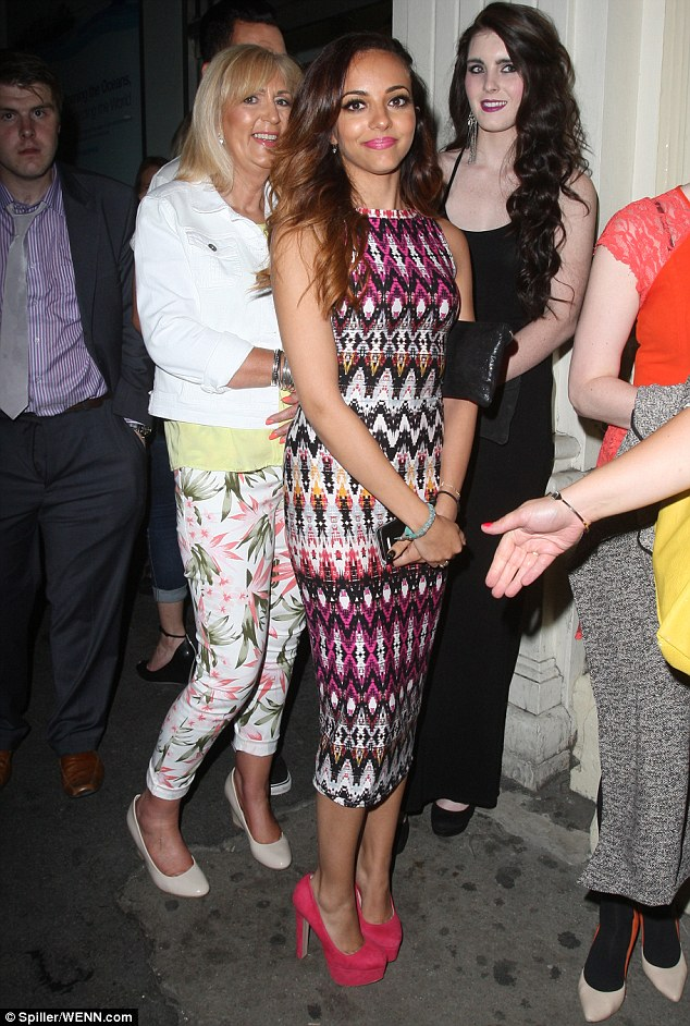 Patiently waiting: Jade Thirwall of Little Mix had to queue up for entry to Mahiki nightclub on Thursday night