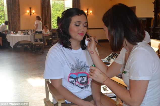 Getting ready: Girls get pampered ahead of the prom, which was held for terminally ill teenagers in L.A.