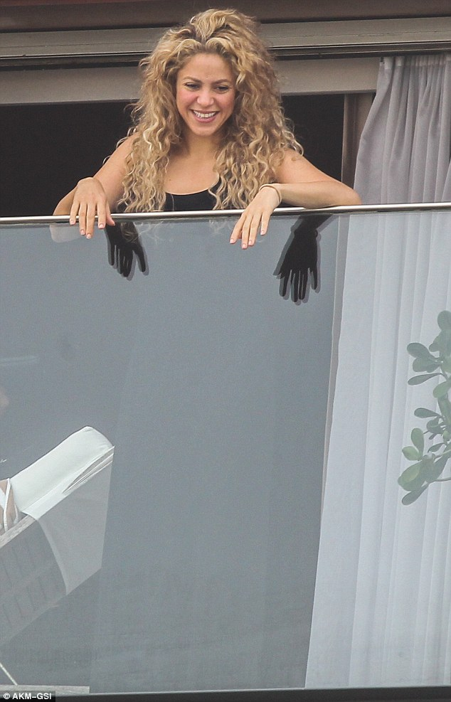 Taking it in: Shakira smiled at the fan appreciation