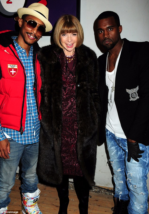 Pals: Anna and Kanye (pictured here in 2010 with Pharell Williams) have been friends on the fashion circuit for years