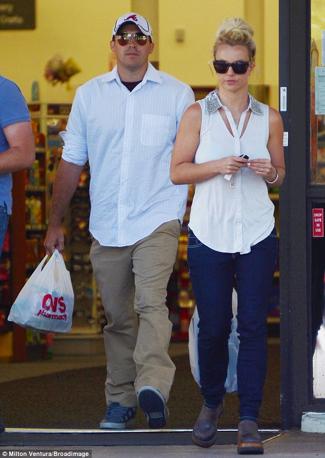On the tired side: Britney Spears wasn't her sparky self as visited CVS Pharmacy in Calabasas on Friday with boyfriend Dave Lucado