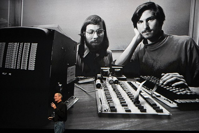 Nope: Kanye West recently called himself the 'Steve of Internet, downtown, fashion, culture,' Referring to Apple founder Steve Jobs, seen here with Wozniak