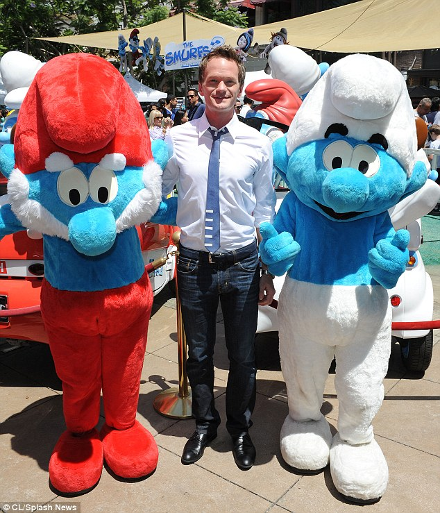 Hey there! Neil Patrick Harris wore a blue tie to match his 'castmates' as he joined them at The Grove in Los Angeles for Global Smurfs Day on Saturday