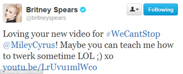 Dance moves: Britney Spears tweeted Miley about learning how to 'twerk'