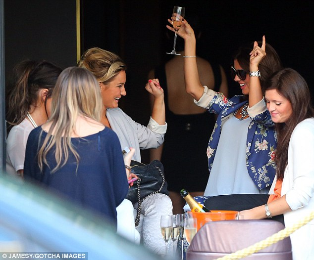 On the champers: Earlier in the afternoon the girls were seen drinking champagne at JuJu bar