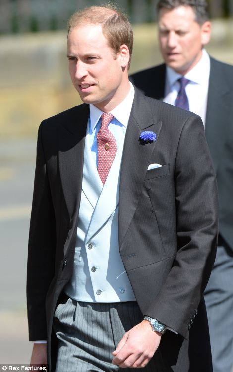 Prince William is seen arriving for the wedding of Lady Melissa Percy and his friend Thomas van Straubenzee