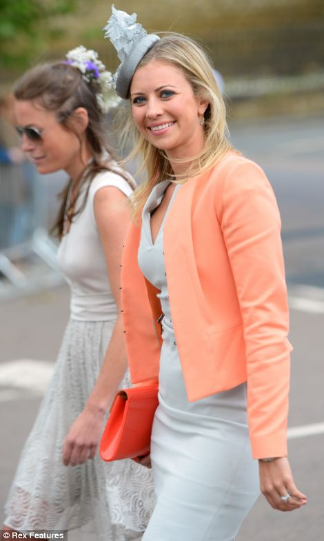 Holly Branson was spring like in a grey and coral combination