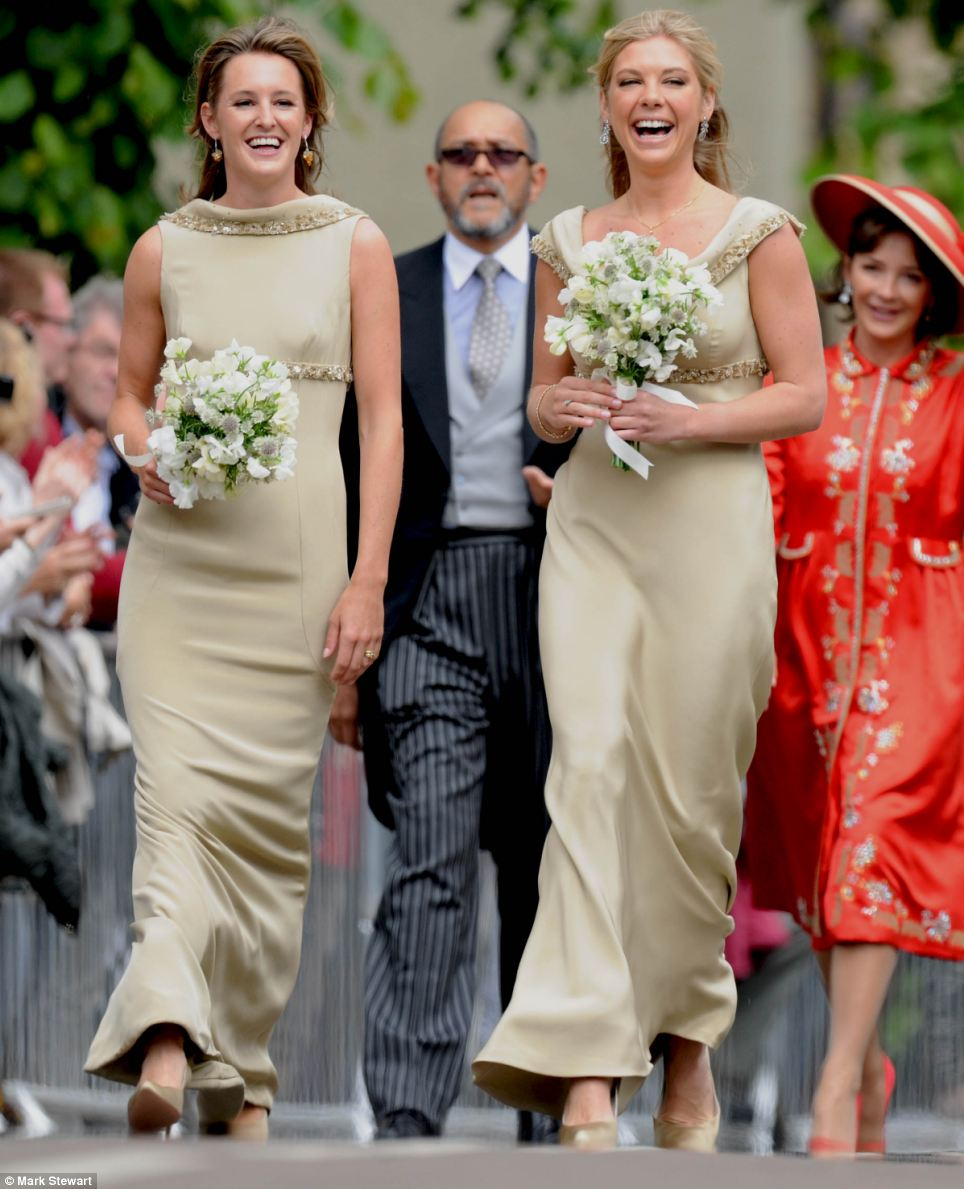 Bridesmaid Chelsy Davy looked delighted as she walked into the church - despite having to face her ex-boyfriend Prince Harry and his new girlfriend, Cressida Bonas