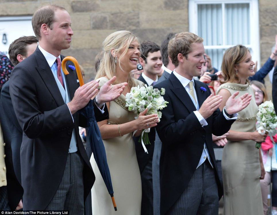 Prince William and his brother's ex-girlfriend, graduate Chelsy Davy, gathered together to applaud the newly weds