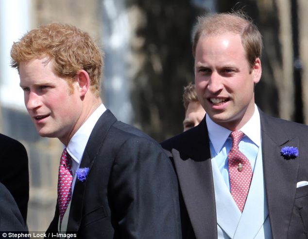 Royal guests: Princes William and Harry are friends of the groom Thomas van Straubenzee