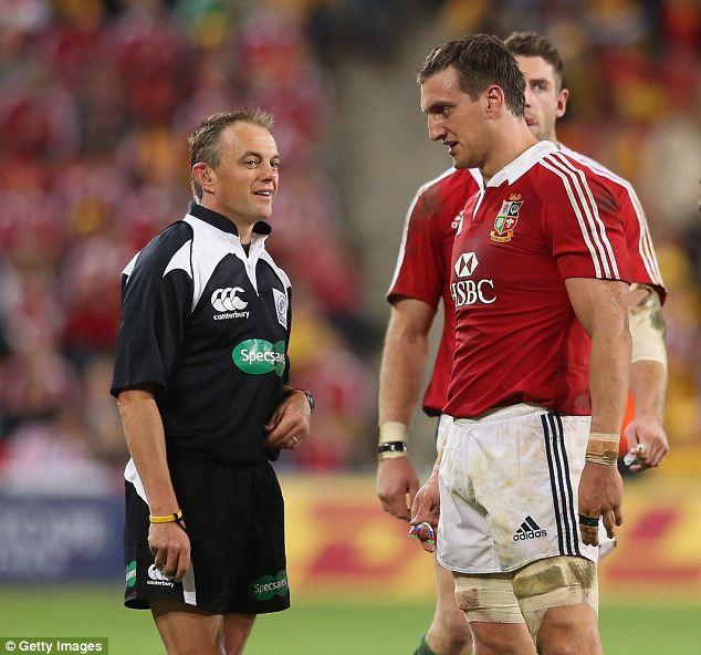 Sam Warburton the Lions captain talks to referee Chris Pollock