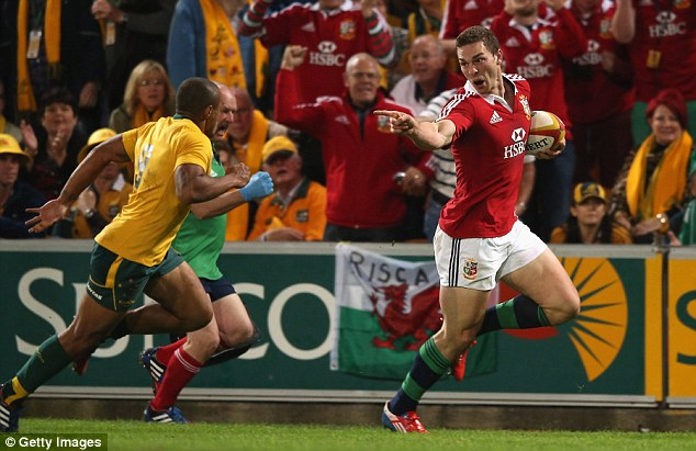 Unstoppable: George North scored the first Lions try after a stunning break from his own half