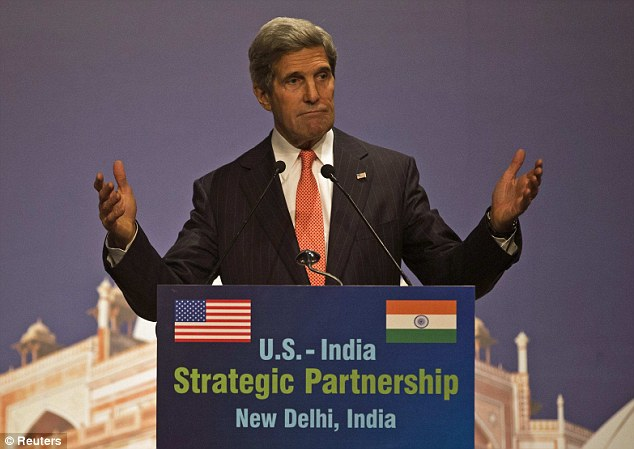 Let's make a deal: U.S. Secretary of State John Kerry called on the U.S. and India to tackle global warming during a Sunday speech in New Delhi, India