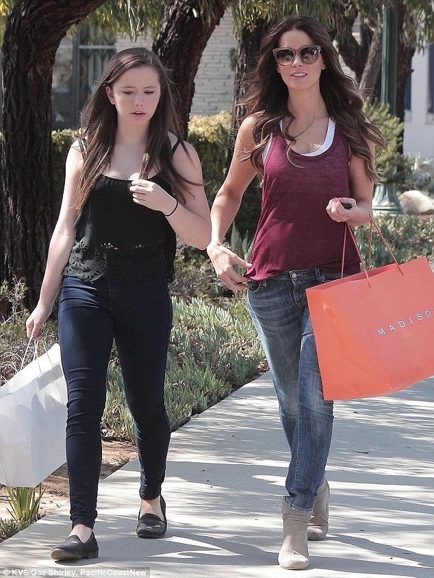 Bonding time: Kate Beckinsale and her daughter Lily Mo Sheen enjoyed a sunny Sunday shopping spree in Pacific Palisades, California