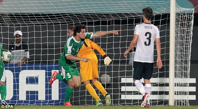Spot on: Iraq's Faez converts from the penalty spot