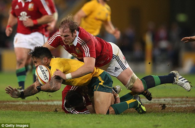 Crush: Lions star Alun Wyn Jones (left) was allegedly trampled by Horwill but he was cleared