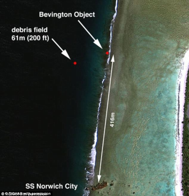 Wreckage: The 'Bevington object' is believed to be the location of a piece of Earhart's plane