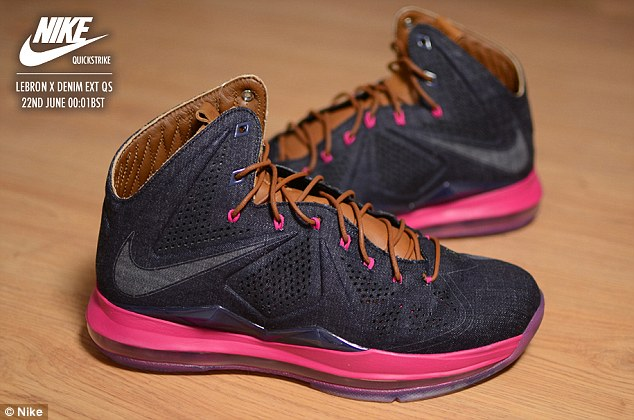 Desirable: The new Nike LeBron EXT Denim sneakers which Atlanta customers queued for yesterday