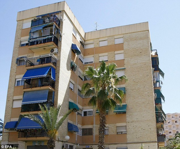 A view of the Alicante apartment building where a newborn baby was rescued after his mother allegedly threw him down a drainpipe