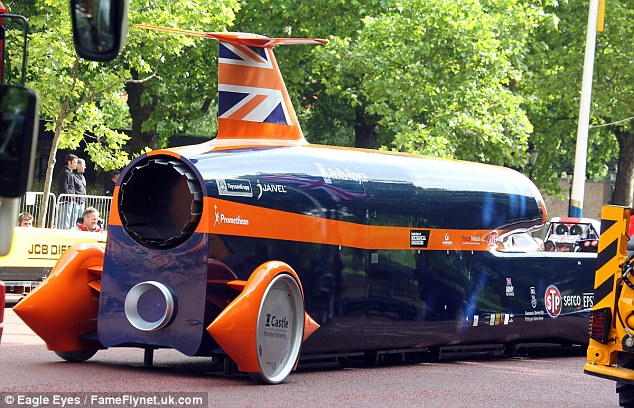 There was also a mock-up of the British-made Bloodhound, a super sonic car that is hoped to break the land speed record