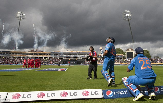 At long last: After rain all day at Edgbaston, the match finally started at 4.20pm
