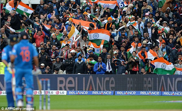 Home team: The majority of spectators packed in to Edgbaston were supporting India