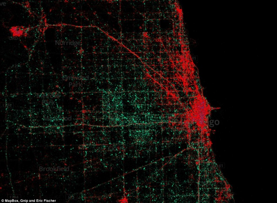 Chicago: The maps reveal that the iPhone are overwhelmingly used in the most densely-populated urban areas while the Android is more popular in the suburbs