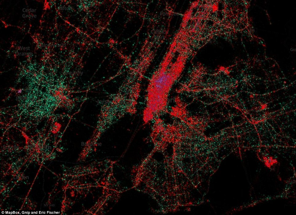 New York: The red dots represent iPhones, the green dots represent Android and the purple dots represent Blackberries