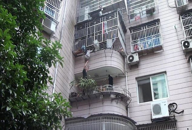 Lucky escape: In the end, Firefighters used powerful jacking equipment to force the bars apart and pull the terrified girl to safety