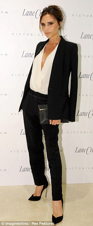 Victoria struck a pose at the launch of her new collection