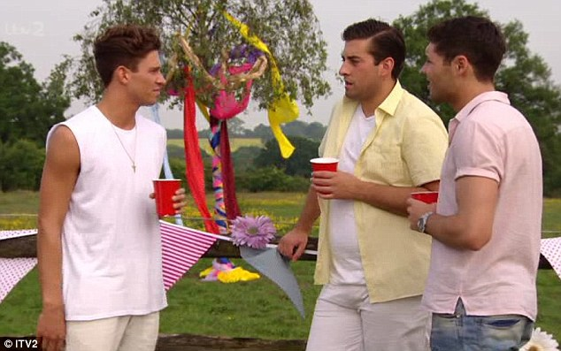 Joey (left), Tom P (right) and Arg (fat) discuss the significance of the summer solstice, ignoring the brightly coloured parachutist stuck in the tree behind them