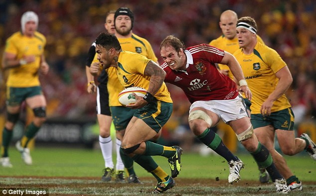 Losing side: Ioane played in Australia's defeat to the British and Irish Lions in the first Test on Saturday