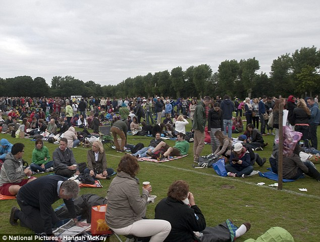 Queues: Fans this morning expressed high hopes for Andy Murray, who once again hopes to make Wimbledon history and become the first British man to take the trophy since Fred Perry in 1936