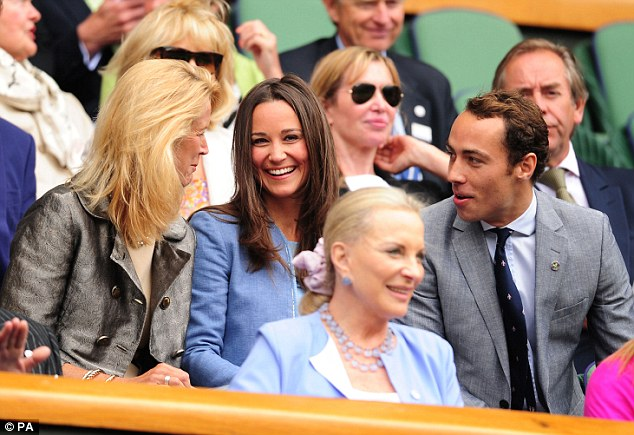 Tennis fans: Pippa and James Middleton in the Royal Box on Centre Court during day one of Wimbledon