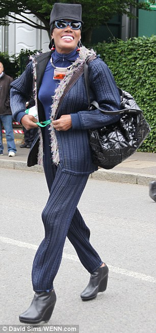 Lending her support: Singer Grace Jones arrives at the Wimbledon Championships in south-west London