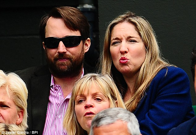 Watching on: Comedian David Mitchell was at Wimbledon with his wife, writer and presenter Victoria Coren