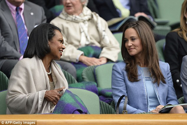 In discussion: Former U.S. secretary of state Condoleezza Rice (left) talks with Pippa Middleton at Centre Court