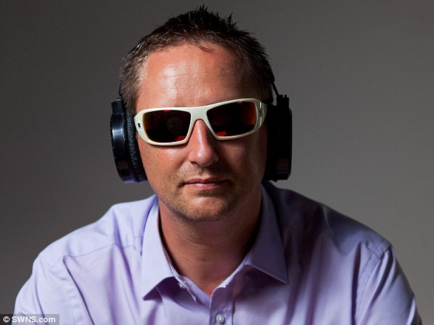 A new tool which allows users to get inside the mind of a dementia sufferer has been launched in the UK. Training 2 Care UK Ltd Managing Director, Glenn Knight, 41, wearing some of the visual impairment devices used in the Virtual Dementia Tour