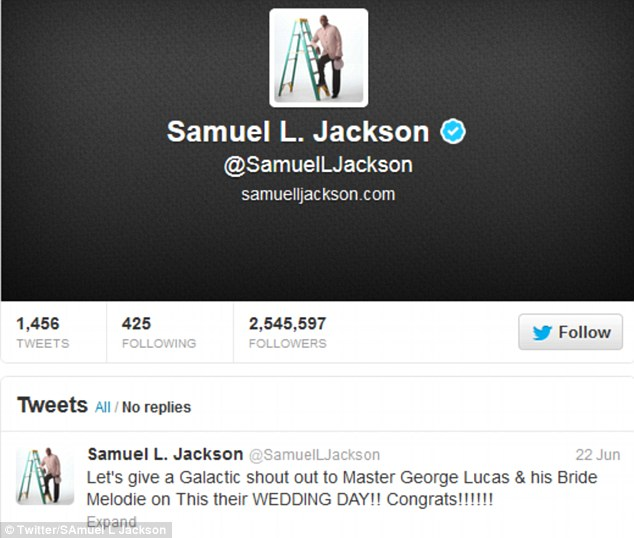 A galactic shout out! Samuel L Jackson tweeted his best wishes to George and Mellody on Saturday