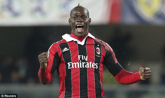 Star man: Berlusconi's current AC Milan side has controversial striker Mario Balotelli leading the line