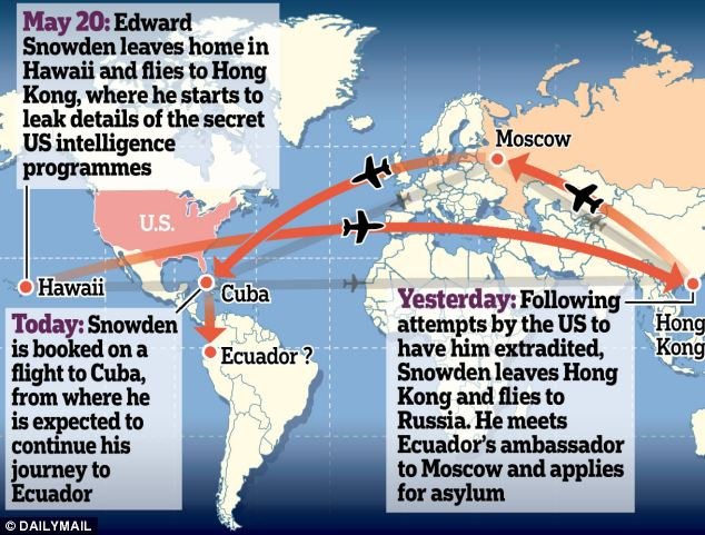 Searching for asylum: Edward Snowden is travelling to Ecuador after being charged with espionage in America. He met with Ecuador's ambassador as he landed in Moscow today